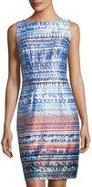 Chetta B Sleeveless Graphic-Print Sheath Dress
