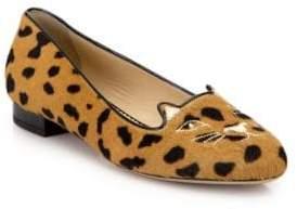 Charlotte Olympia Leopard-Print Calf Hair Kitty Flats