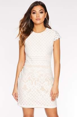 Quiz Cream And Nude Lace Cap Sleeve Bodycon Dress