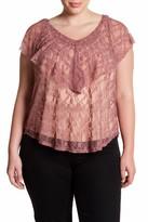 Hip Flutter Lace Blouse (Plus Size)
