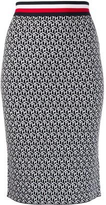 Tommy Hilfiger Monogram Print Pencil Skirt