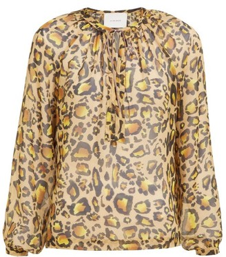 Marios Schwab On The Island By Floreana Leopard-print Cotton-voile Shirtdress - Womens - Leopard