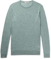 John Smedley Theon Mélange Cotton And Cashmere-blend Sweater