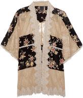 Anna Sui Lace-paneled Printed Silk Crepe De Chine Jacket - Black