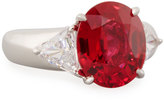 FANTASIA Wide Mixed-Cut Crystal Cocktail Ring, Red