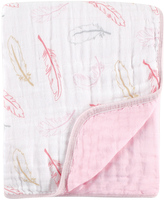 Hudson Baby 46'' x 46'' Pink & White Feather Muslin Receiving Blanket