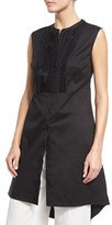 Brunello Cucinelli Sequined Sleeveless High-Low Tunic, Black