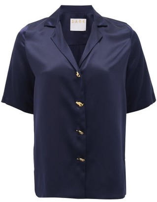 S.a.r.k - Dietrich Hand-button Short-sleeved Silk Shirt - Navy
