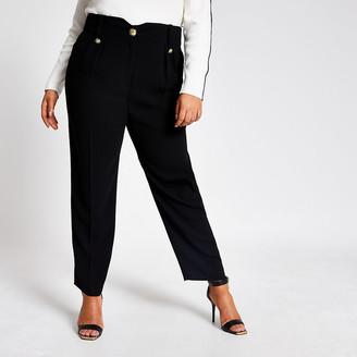River Island Plus black crest button peg trousers