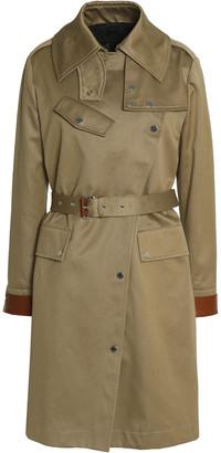Belstaff Leather-trimmed Belted Cotton-gabardine Trench Coat
