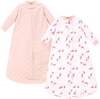Hudson Baby Girls' Infant Sleeping Sacks Pink - Pink & White Polka Dot Unicorn Fleece Gown Set - Newborn