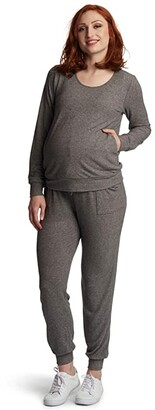 Everly Grey Whitney Maternity/Nursing Two-Piece Set (Charcoal) Women's Pajama Sets