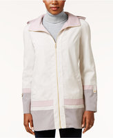 Jones New York Hooded Water-Resistant Colorblocked Raincoat