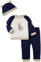Little Me My Pup Quilt Pant Set (Baby) - Navy-3 Months