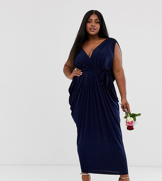 Club L London Plus slinky cowl back bridesmaid maxi dress-Navy