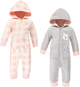 Hudson Baby Girls' Rompers Girl - Gray Baby Bear Fleece Hooded Zip-Front Playsuit - Set of Two