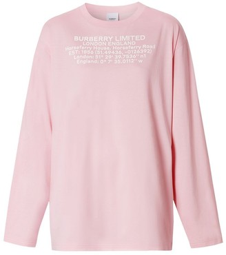 Burberry Long-sleeve Location Print Cotton Oversized Top