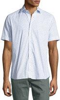 Etro Topography-Print Short-Sleeve Cotton Shirt, White