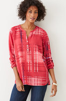 J. Jill Plaid Ikat-Print Tunic