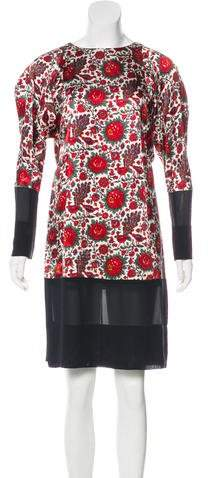 Balenciaga Printed Long Sleeve Dress
