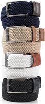 Perry Ellis Men's Webbed Leather Trim Belt