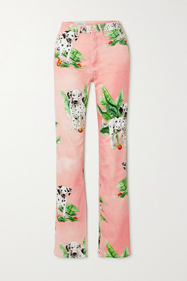 Casablanca Printed Mid-rise Straight-leg Jeans - Pink
