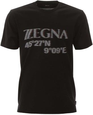 Ermenegildo Zegna MAXI LOGO T-SHIRT M Black Cotton