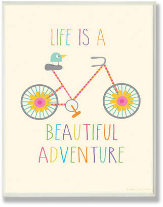 "Stupell Industries Home Decor Life Is A Beautiful Adventure Bird on A Bike Wall Plaque Art, 12.5"" x 18.5"""