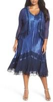 Komarov Plus Size Women's Charmeuse & Chiffon Dress & Jacket