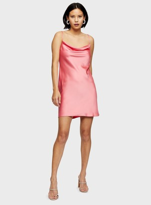 Miss Selfridge Coral Cowl Neck Slip Dress