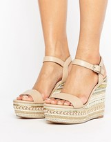 Faith Lily Espadrilled Nude Wedge Heeled Sandals
