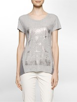 Calvin Klein Foiled Logo Mixed Media T-Shirt