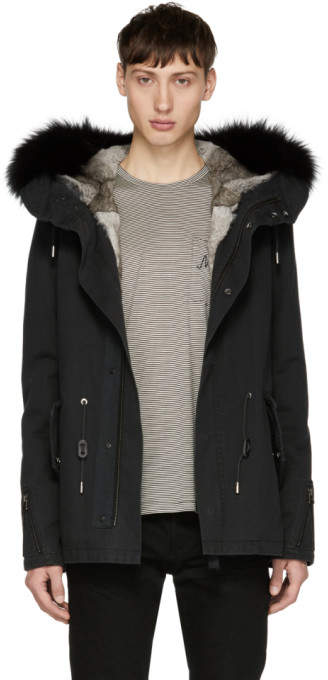 Yves Salomon Black Short Fur Hooded Parka