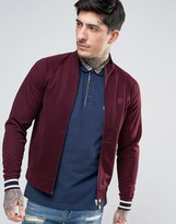 Pretty Green Forston Tricot Track Top Slim Fit in Burgundy