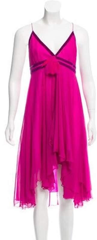 Matthew Williamson Velvet-Trimmed Silk Dress Fuchsia Velvet-Trimmed Silk Dress