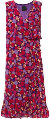 Anna Sui Ruffle-trimmed Floral-print Silk-chiffon Wrap Dress