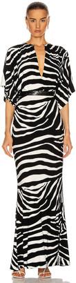 Norma Kamali Obie Gown in Large Zebra | FWRD