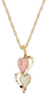 Black Hills Gold Hearts and Leaves Pendant in 10k Yellow Gold with 12k Rose and Green Gold