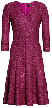 St. John Sequin Tweed V-Neck Dress