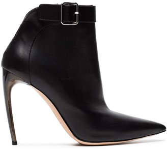 Alexander McQueen Black Pointed 105 Leather ankle boots
