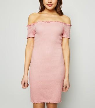 New Look Bardot Shirred Jersey Mini Dress