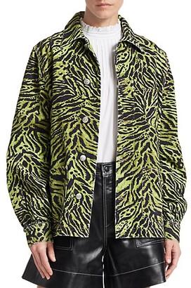 Ganni Tiger-Print Denim Jacket