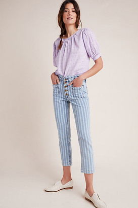 Pilcro High-Rise Striped Acid Wash Straight Jeans By Pilcro and the Letterpress in Blue Size 25