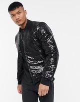 Bolongaro Trevor sequin bomber jacket-Black