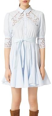 Maje Rebella Lace Trim Shirt Dress