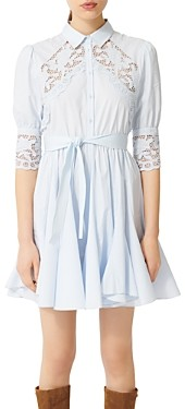 Maje Rebella Lace Trim Shirt Dress
