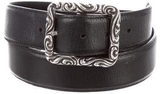 Chrome Hearts Sterling Silver Buckle Leather Belt