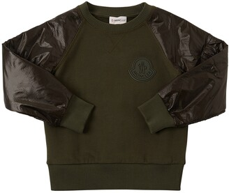 Moncler Cotton Sweatshirt W/ Ripstop Sleeves