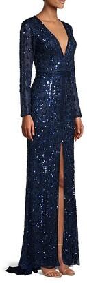 Mac Duggal Plunging Neckline Evening Gown