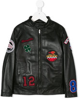 Dolce & Gabbana multi-patch leather jacket - kids - Polyamide/Polyester/Lamb Fur - 6 yrs